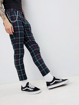 ASOS DESIGN Super Skinny Crop Smart Trousers In Tartan