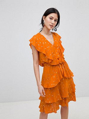 Y.a.s Metallic Print Ruffle Dress - Multi
