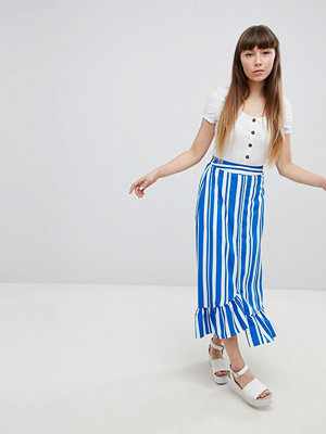 New Look Randig kjol med volangkant