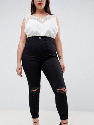 ASOS Curve ASOS DESIGN Curve Rivington High Waisted Jeggings With Frayed Knee Rip Detail - Clean black