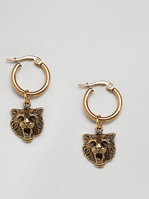 Regal Rose örhängen 18K Gold Plated Lion Head Hoop Earrings