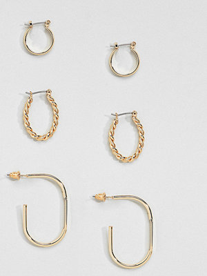 ASOS örhängen DESIGN Pack Of 3 Vintage Style Twist And Oval Hoops