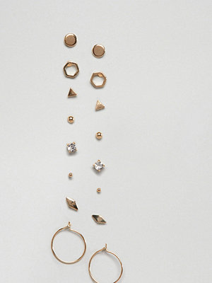 ASOS örhängen DESIGN Pack Of 8 Minimal Stud And Hoop Earrings