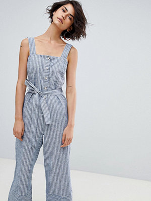 Warehouse Button Culotte Stripe Jumpsuit - White and blue