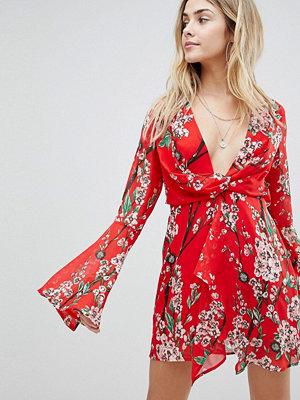 Boohoo Kimono Sleeve Floral Mini Dress