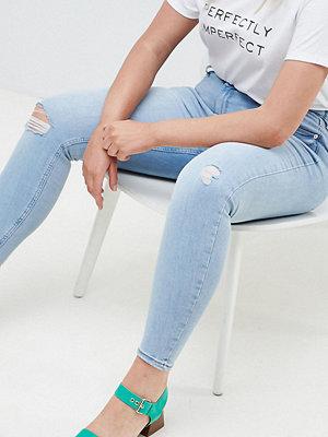 River Island Plus Harper Skinny jeans med revor på knäna Super pale