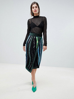 River Island Premium Embellished Wrap Pencil Skirt - Green and blue