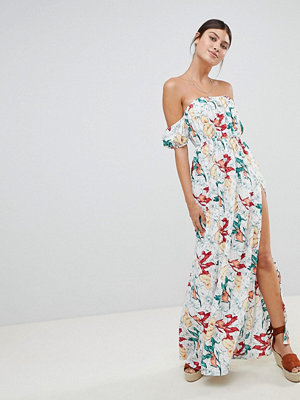 PrettyLittleThing Floral Bardot Maxi Dress With Side Split