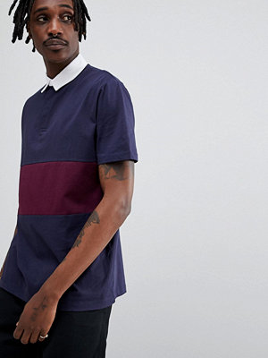ASOS DESIGN rugby polo shirt with contrast panel - Navy/ regal