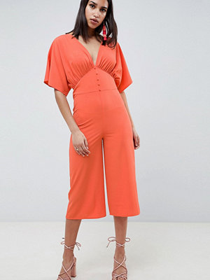 ASOS DESIGN Tea Jumpsuit With Kimono Sleeve And Button Detail - Coral