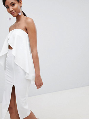ASOS DESIGN bandeau frill cut out midi dress - Ivory