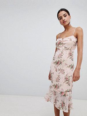 Boohoo Floral Peplum Hem Midi Dress