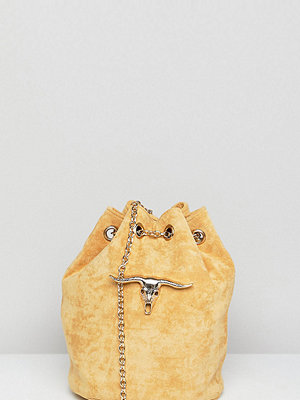 Sacred Hawk axelväska Faux Suede Shoulder Bag With Ram Head