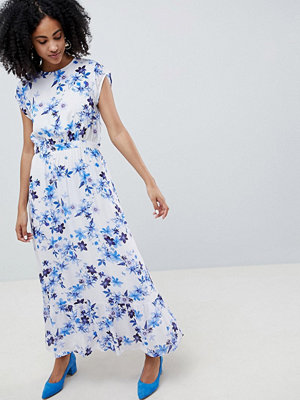 Gestuz Floral Maxi Dress With Frill Shoulder - White flower