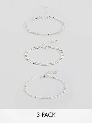 ASOS armband DESIGN bracelet pack of 3 with flat curb and tube chain detail