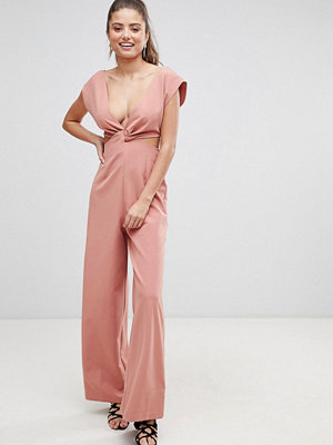 ASOS DESIGN knot front jumpsuit with cut out detail and wide leg - Dusky pink