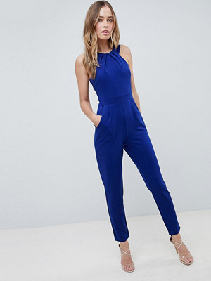 City Goddess Wrap Over Jumpsuit - Cobalt