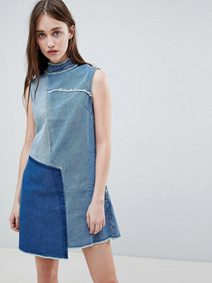 Wåven Christa Patchwork High Neck Denim Dress - Old used blue