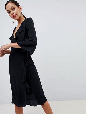 Outrageous Fortune ruffle wrap midi dress with fluted sleeve