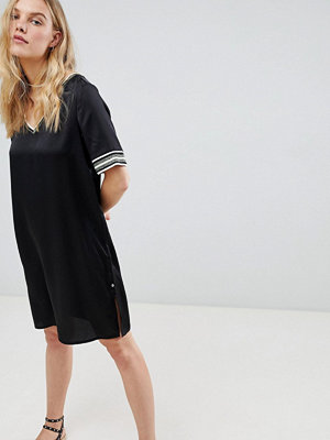Maison Scotch Shift Dress with Sporty Glitter Stripe Trims - 08 black