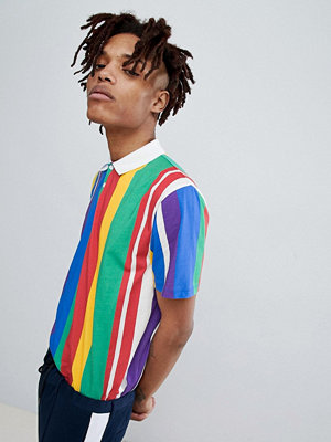 ASOS DESIGN relaxed polo with rainbow vertical stripe