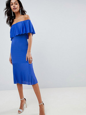 ASOS DESIGN pleated bardot fishtail midi dress - Cobalt blue