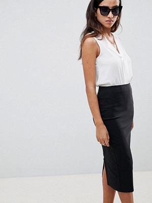 ASOS DESIGN high waisted longerline pencil skirt