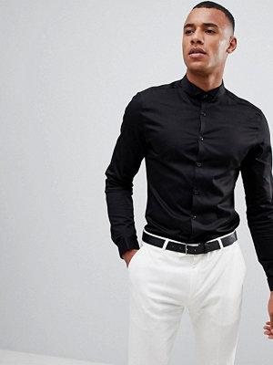 ASOS Skinny Sateen Shirt With Wing Collar