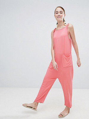 ASOS DESIGN jersey minimal jumpsuit with ties - Peach