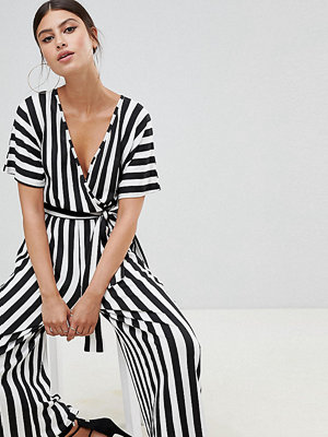 Boohoo Basic Svart och vitrandig culotte-jumpsuit