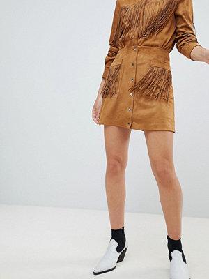 Mango Brun kjol i mockaimitation med fransar