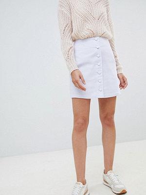 Mango button through a line mini skirt in lilac - Lilac