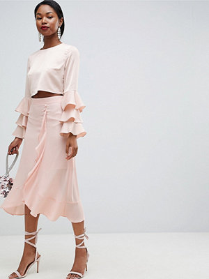 ASOS DESIGN chiffon midi skirt with button and frill detail - Powder blush