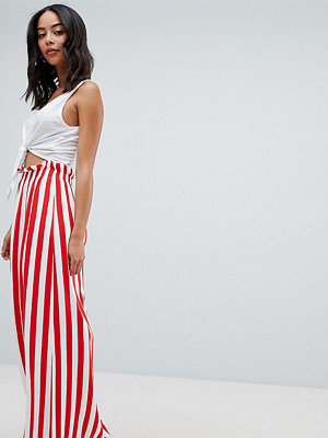 Asos Tall ASOS DESIGN Tall maxi skirt with paperbag waist in stripe