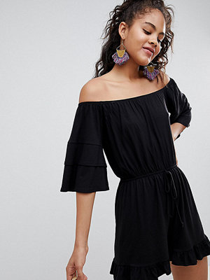 Asos Tall ASOS DESIGN Tall off shoulder jersey playsuit with frill hem