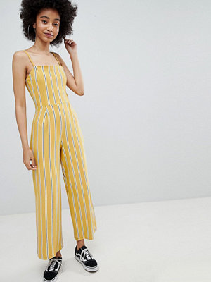 Jumpsuits & playsuits - Bershka stripe wide leg jumpsuit in yellow - Mustard