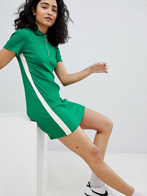 Bershka zip detail polo dress