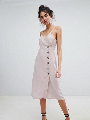 New Look Button Through Wrap Dress - Nude