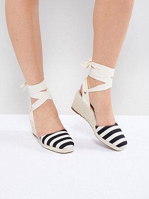 Miss Selfridge Stripe Espadrille Wedge Heel Sandals - Mono