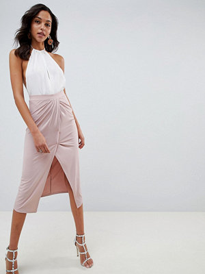 ASOS DESIGN slinky jersey midi skirt with wrap front - Nude