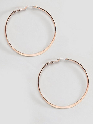 River Island örhängen Medium Flat Bottom Hoop Earrings - Rose gold
