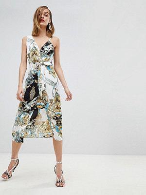 River Island Asymmetric Scarf Print Midi Cami Dress - Multi