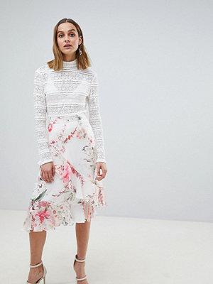 River Island Floral Frill Split Front Midi Skirt - Multi