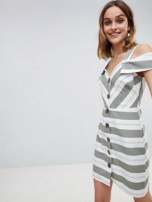 River Island Button Front Stripe Bardot Sun Dress - Multi