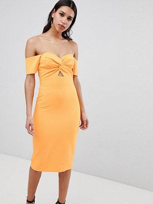 River Island Bardot Twist Front Bodycon Dress - Orange bright