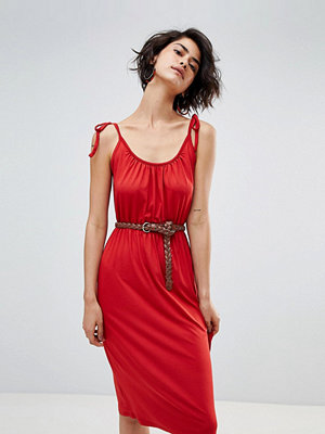 Warehouse Tie Shoulder Cami Midi Dress - Terracotta