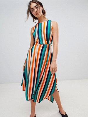 Warehouse Rainbow Stripe Slinky Elastic Waist Midi Dress