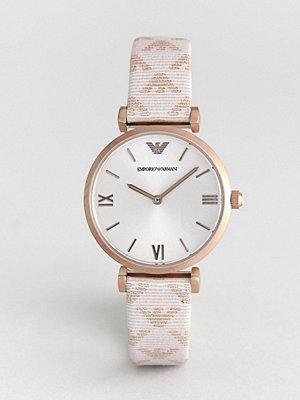 Klockor - Emporio Armani AR11126 Gianni T-Bar Leather Watch with Logo Strap