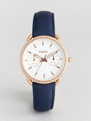 Klockor - Fossil ES4394 Tailor Navy Leather Watch in Rose Gold