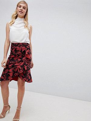 Oasis Havana Printed Pencil Skirt - Red print